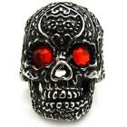 Gothic Men's Red Crystal Eyes Pocker Flower Skull Ring 316L Stainless Steel Punk
