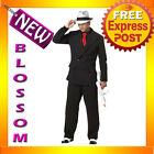 C631 Mens MOB BOSS 1920s  Gangster Pinstripes Halloween Fancy Dress Up Costume