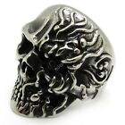 Men's Ganplank Flaming Demon Skull 316L Stainless Steel PUNK Finger Ring