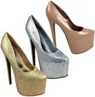 WOMENS LADIES HIGH HEEL PARTY CONCEALED PLATFORM POINTED COURT PUMP SHOE 3-8