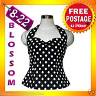 RK2 Rockabilly  Polka Dot Halter Top Work Black 40s 50s Retro Emo Pin Up Plus