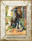 Country Ranch Farm Animals MOTHER & BABY DONKEY FOAL GEESE  Vintage ART PRINT