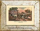 American FarmYard EVENING Antique Currier & Ives ART PRINT Ranch Country Animals
