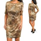 9 - 1XL 2XL 3XL Plus Size Animal Print 3/4 Sleeves Shift Holiday Dress Gold