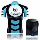 Blue New Cycling Bike Women Bicycle Short Sleeve Jersey Bib Shorts Set S-3XL