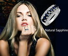 Size5-9 Natural Blue Sapphire Sterling Silver Birthstone Wedding Bridal Ring R21