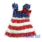 Blue Star Red White Lace Petti Pettidress 4th July Patriotic Party Dress