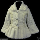 Cream/Beige/Ivory i216 UkG X'mas Birthday Party Faux Fur Casual Girls Coat 2-7y