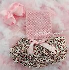 Newborn Baby Leopard Satin Bloomers Light Pink Tube Top Bow Headband 3pc NB-24M