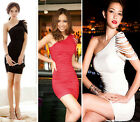 Swxy Lady Draped One Shoulder Tassel Cocktail Party Mini Dress Sleeveless M0634