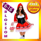 J71 Ladies Little Red Riding Hood Party Fancy Dress Up Halloween Costume Outfit