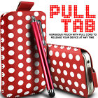 LEATHER POLKA & ZEBRA PULL TAB CASE POUCH + STYLUS FOR VARIOUS BLACKBERRY PHONES