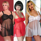 Plus Size Lingerie Sizes 1X  2X 3X or 4X Babydoll with Stretch Lace Top 3709X