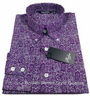 RELCO PAISLEY LS SHIRT - PURPLE - WHITE - 60S VINTAGE DESIGN - MOD / SKIN