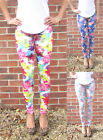 EXTRA LONG Leggings Floral Holiday Print SIZES 8 - 18