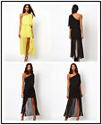 New Women Sexy One Shoulder Chiffon Split Side Party Club Cocktail Long Dress A