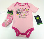NEW Pink John Deere Daddy's Little Girl One Piece Bodysuit with Socks  6 9 Mo