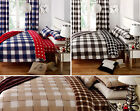 GINGHAM CHECK DUVET COVER Cotton Blend Reversible Bedding Quilt Cover Bed Set
