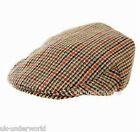 ADULTS MENS LINED COUNTRY TWEED BROWN CHECK PEAK CLASSIC FLAT CAP HAT