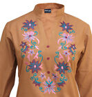 Ladies Indian Kurta Tops-Long Sleeve Embroidered Mustard Kurti Top