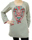 Ladies Indian Kurta Tops-Long Sleeve Embroidered Green Wash n Wear Kurti Top