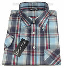 Relco Bold Check SS Shirt - SKY / GREY / RED - Classic 60s Button Down Mod Skin