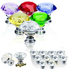 30MM Diamond Crystal Glass Door Knobs Drawer Cabinet Furniture Kitchen Handles