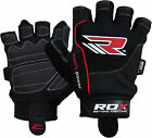 RDX Gel Weight Lifting Body Building Gloves Gym Straps Training Leather Grip US