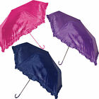 Ladies Womens Brolly Frilly Frilled Victorian Umbrella Pink Purple Navy UU0184