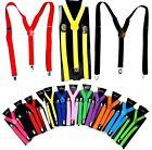 New 10 Colors Mens Womens Clip-on Suspenders Elastic Y-Shape Adjustable Braces