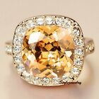 Rose Gold Plated Citrine Yellow Topaz Swarovski Crystal Women Wedding Ring R178