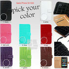 Y Crocodile PU Leather Wallet Case Cover Flip Pouch Apple iPhone 3 G 3G S 3GS