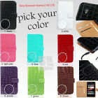 Y Crocodile Leather Wallet Case Cover Pouch Sony Ericsson Xperia Z 4G LTE C6602
