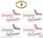 HAPPY HALLOWEEN BAT BUBLE IRON-ON DIAMANTE BLING PARTY TSHIRT TRANSFER APPLIQUE