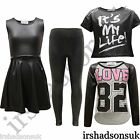 KIDS GIRLS BLACK WET LOOK SHINY LEGGING MIDI SKATER DRESS T SHIRT TOP 2-13YEARS