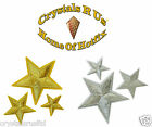 3 STAR GOLD SILVER THREAD IRON-ON HOTFIX KIDS DIY CRAFT PARTY ACTIVITY PATCHES