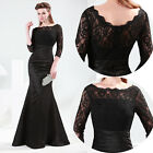 Floor Length Lace Mermaid Wedding Evening Cocktail Party Prom Formal Gown Dress