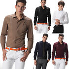 New Fation Mens Slim Fit Long Sleeve Shirt Cotton Formal/Casual Shirt In 5Colors