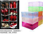 5PCS Practical Clear color Plastic Shoe Boxes Stackable Storage Foldable case