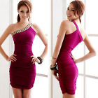 Sexy Women's One shoulder Clubwear Pub Cocktail Mini Dress Prom Party Gown New