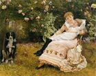 MOTHER DAUGHTER DOG FLOWERS HAPPY AS THE DAY IS LONG BY EDWARD JOHNSON REPRO