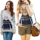 New Female Pullover Sweater Fashion Mr. Rabbit Printing Blouse Retro Tops