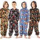 Boys Hooded Onesies All in One Fleece Pyjama Sleepsuit Onesie 2 Styles 4 Colours