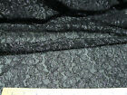 Discount Fabric Stretch Mesh Lace Black Silver Metallic Floral 52' wide 794LC