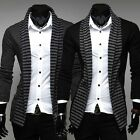 Trendy Men's Stripes Fit Suit Blazer Casual Long Sleeve Coats Jacket  2 Colors
