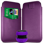 CARD SLOT PU LEATHER PULL FLIP TAB CASE COVER & SPEAKER FOR SAMSUNG PHONES