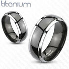 two tone wedding bands - Titanium Two Tone Black IP Dome Mens Ring Couple Wedding Band Engagement Ring