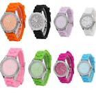 Fashion Men Women Kids Silicone Band 24-hour Sport Quartz Wrist Watch 8 Colors