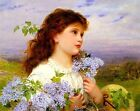 Wistful Girl in Lilacs Fabric Quilt Block Multi Sizes FrEE ShiPPinG WoRld WiDE