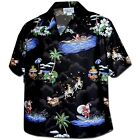 Womens Christmas Santa Claus Hawaiian Shirt, Black